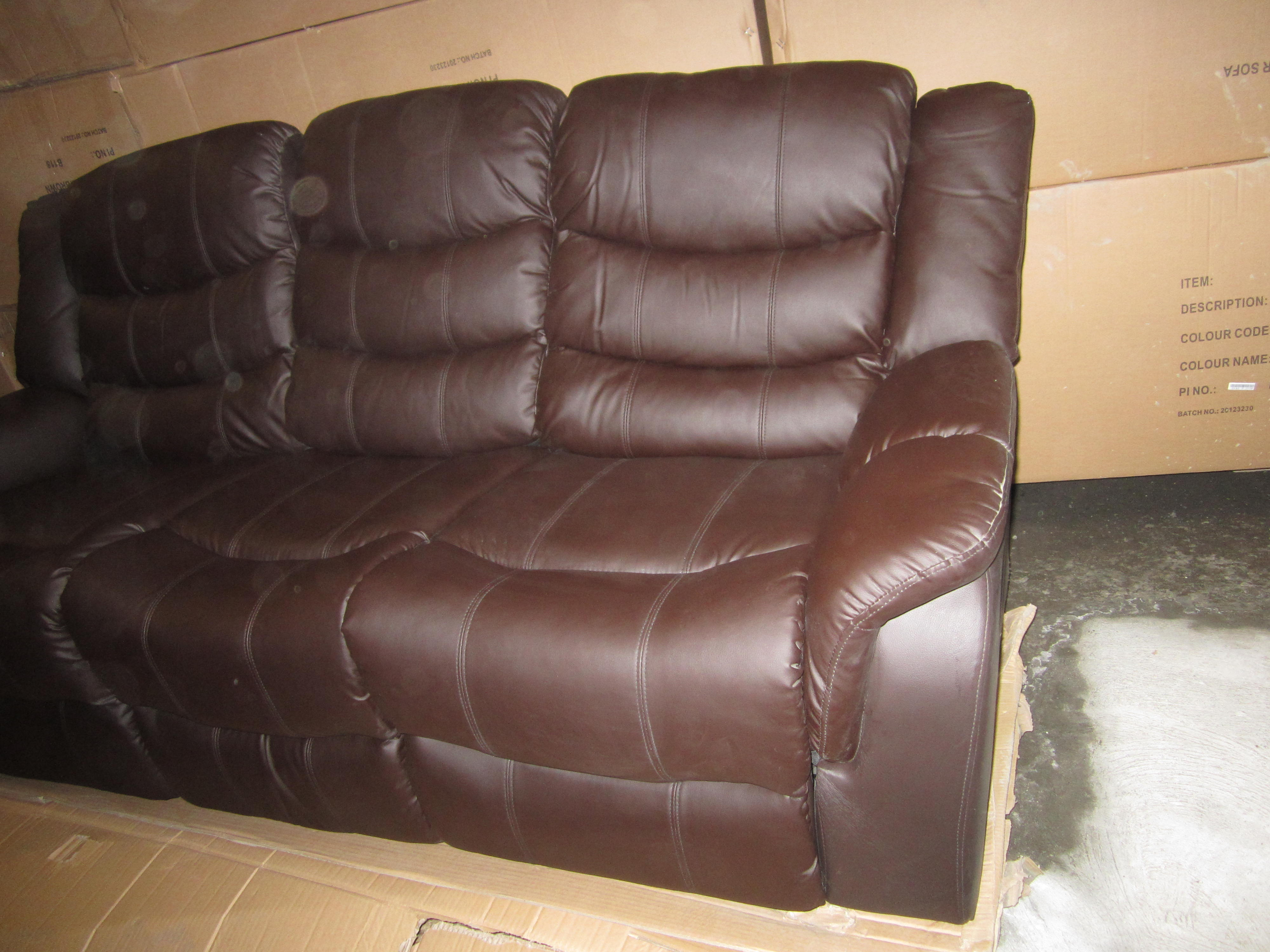 3 Seater Leather Recliner Sofa Brown Brand New