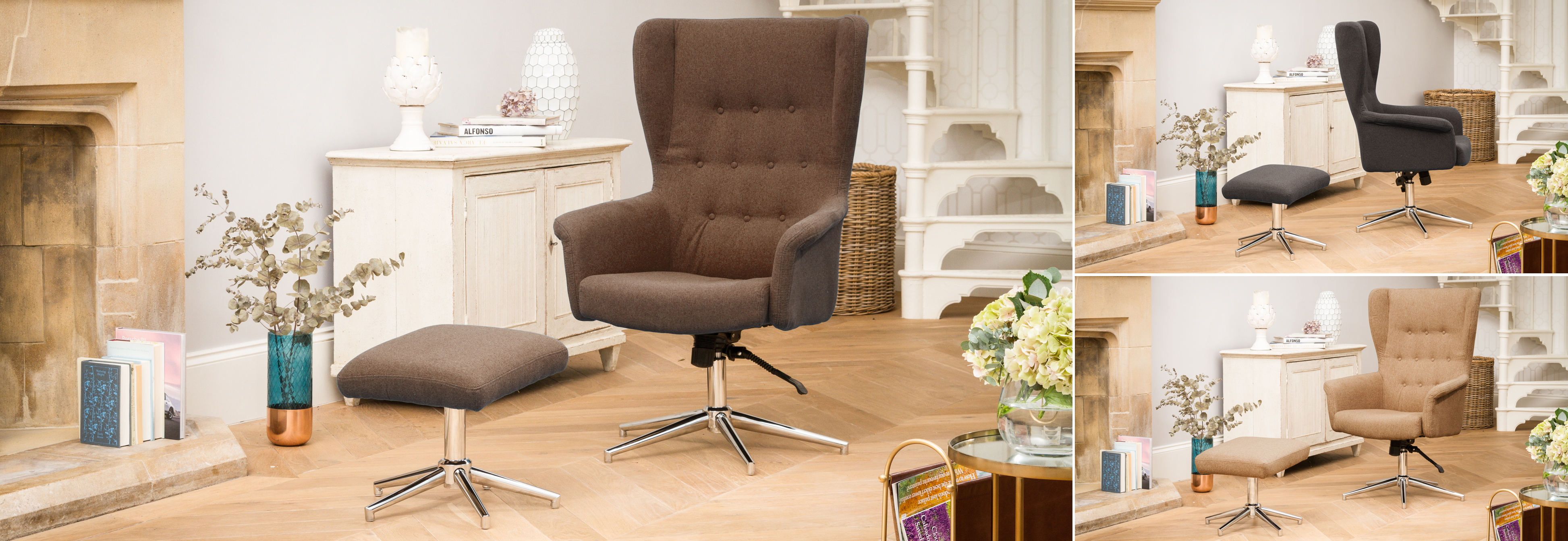 Harlow Swivel Chair Dark Brown