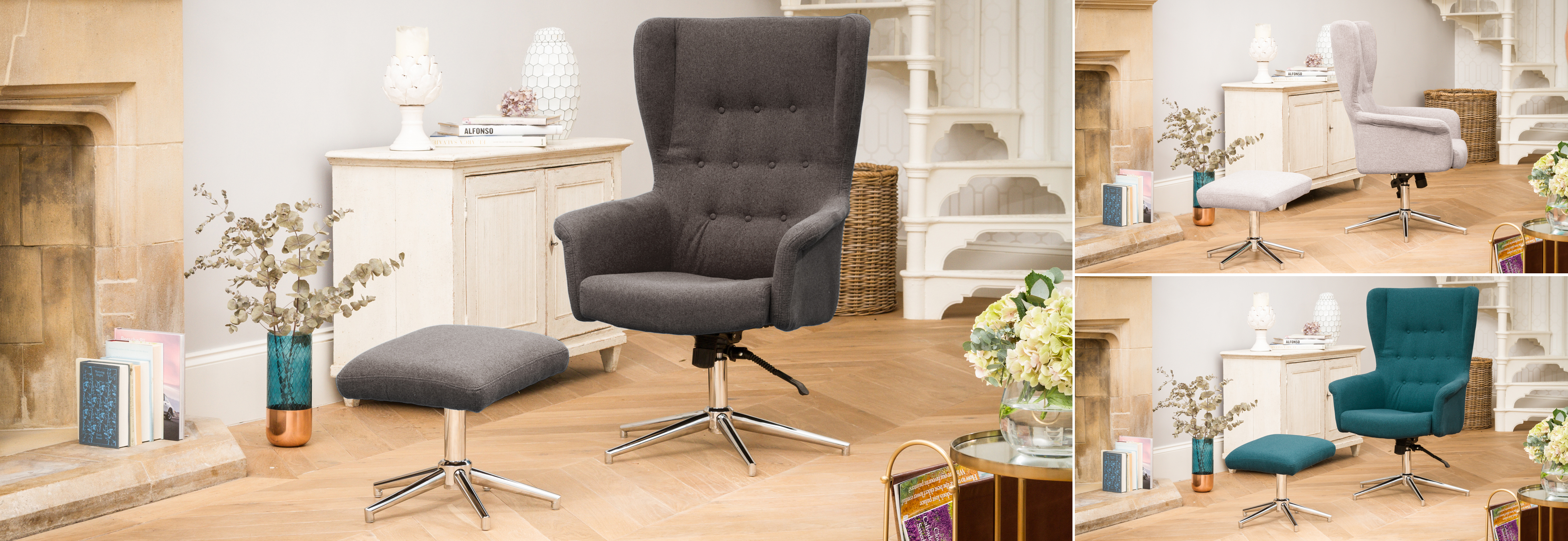 Harlow Swivel Chair Dark Grey