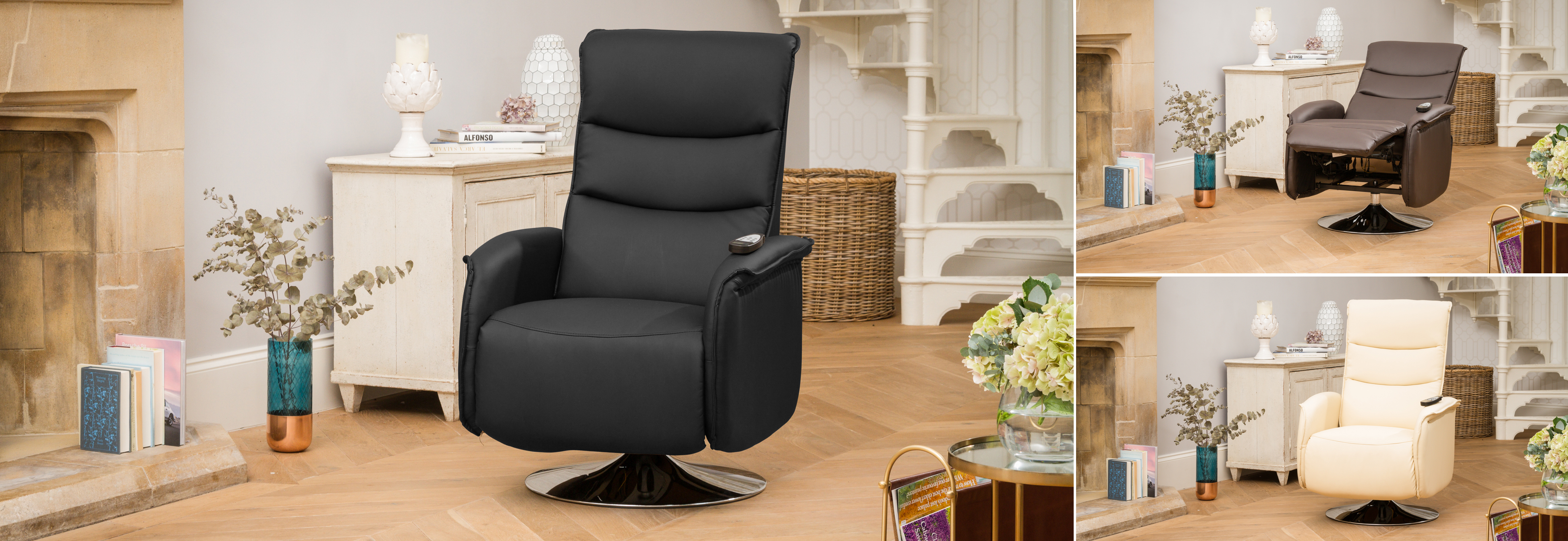 Harpenden Recliner Chair with Heat and Massage Black