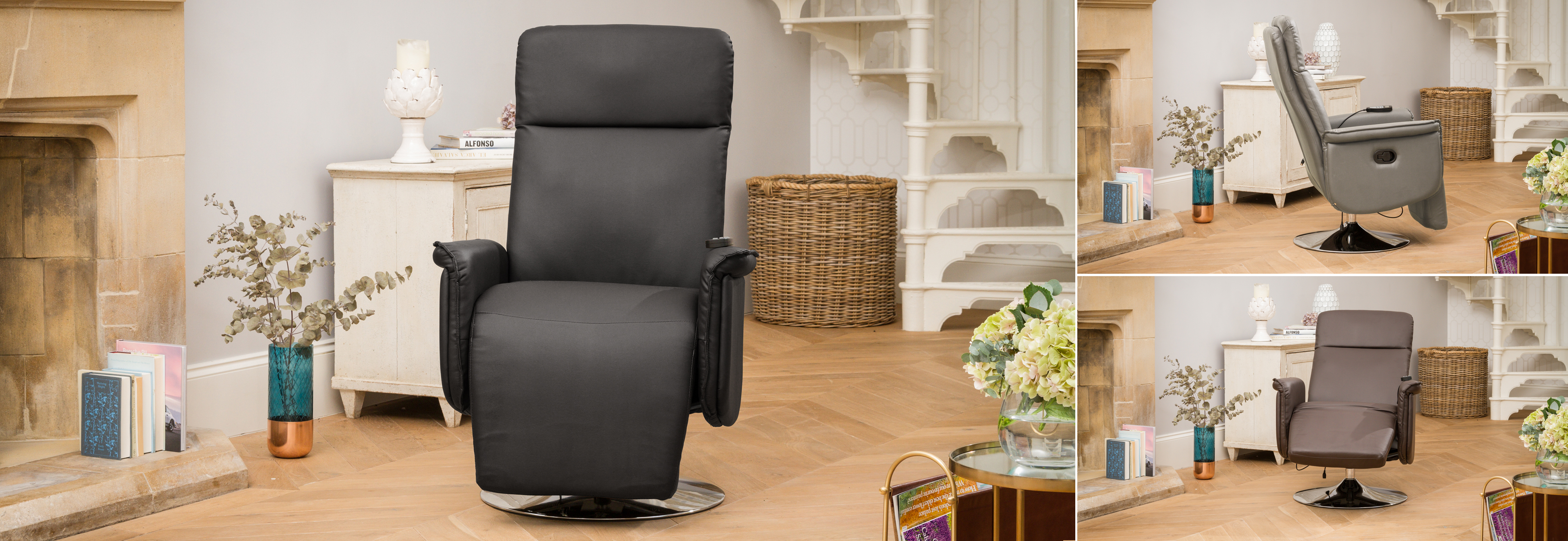 Keswick Recliner Chair with Heat and Massage Black