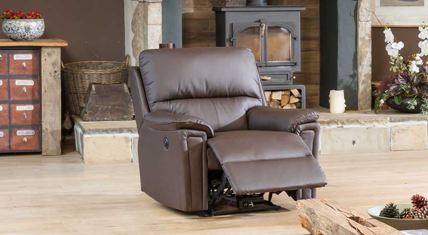 Radstock electric reclining armchair brown