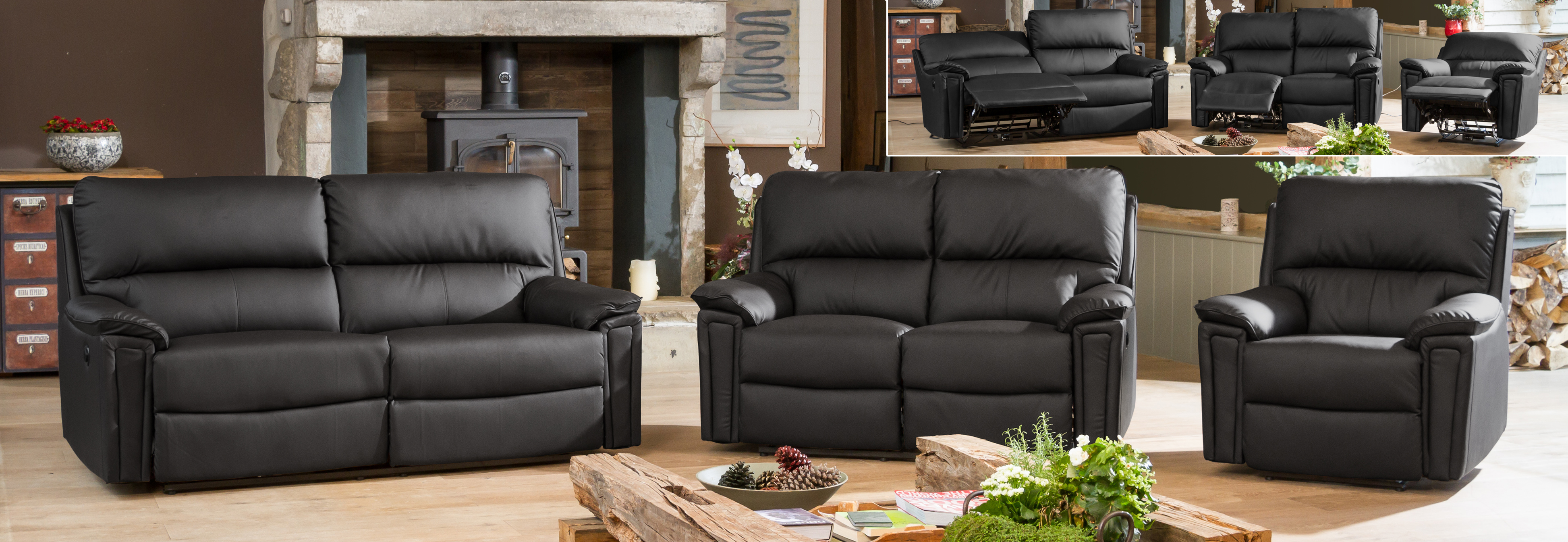 Radstock Electric Reclining Suite black