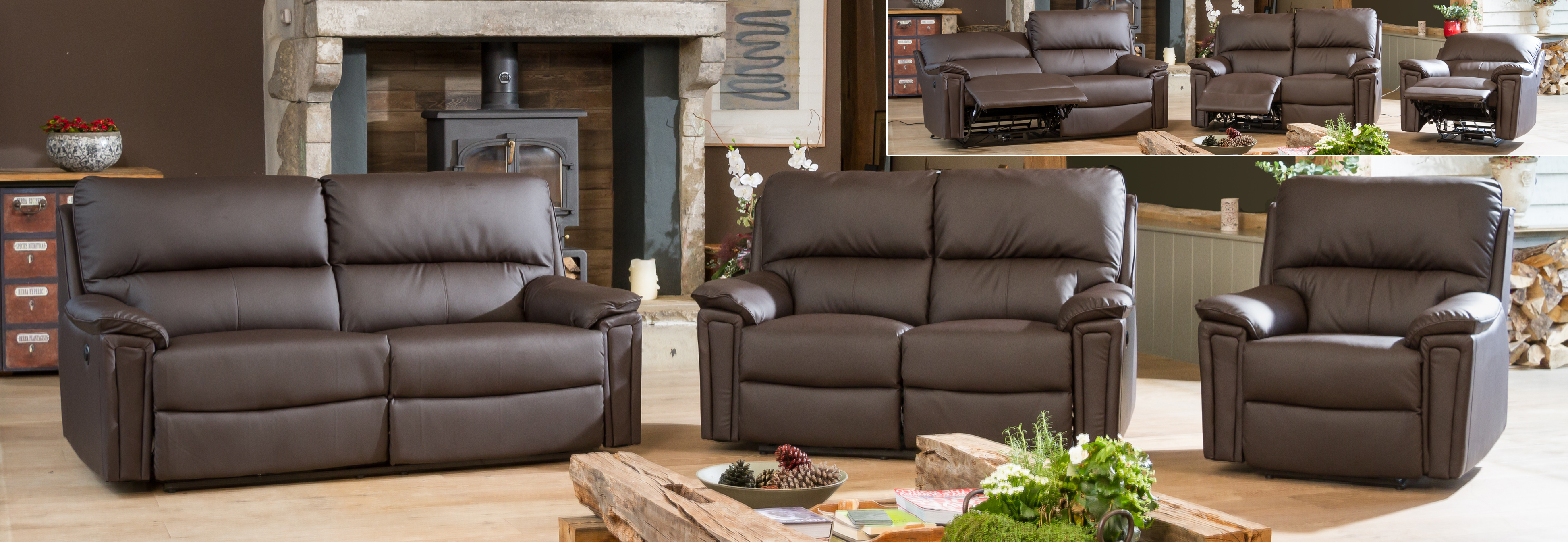 Radstock Electric Reclining Suite brown