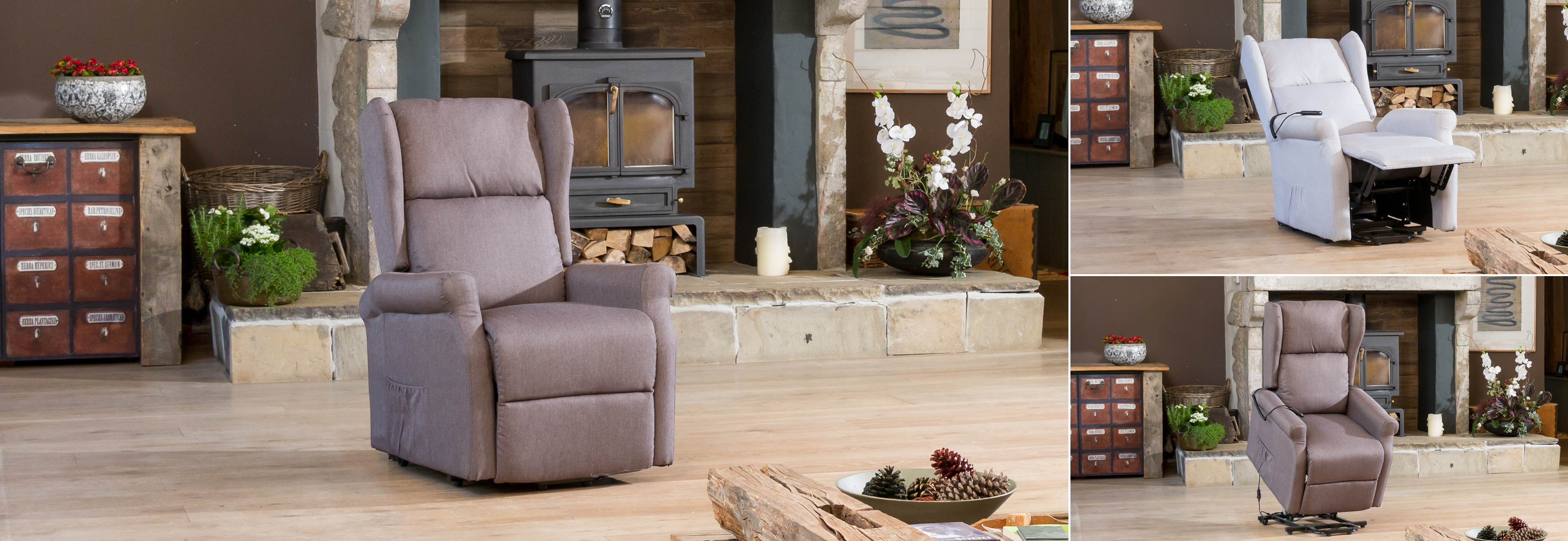 Sandhurst Riser Recliner with Massage and Heat dark grey