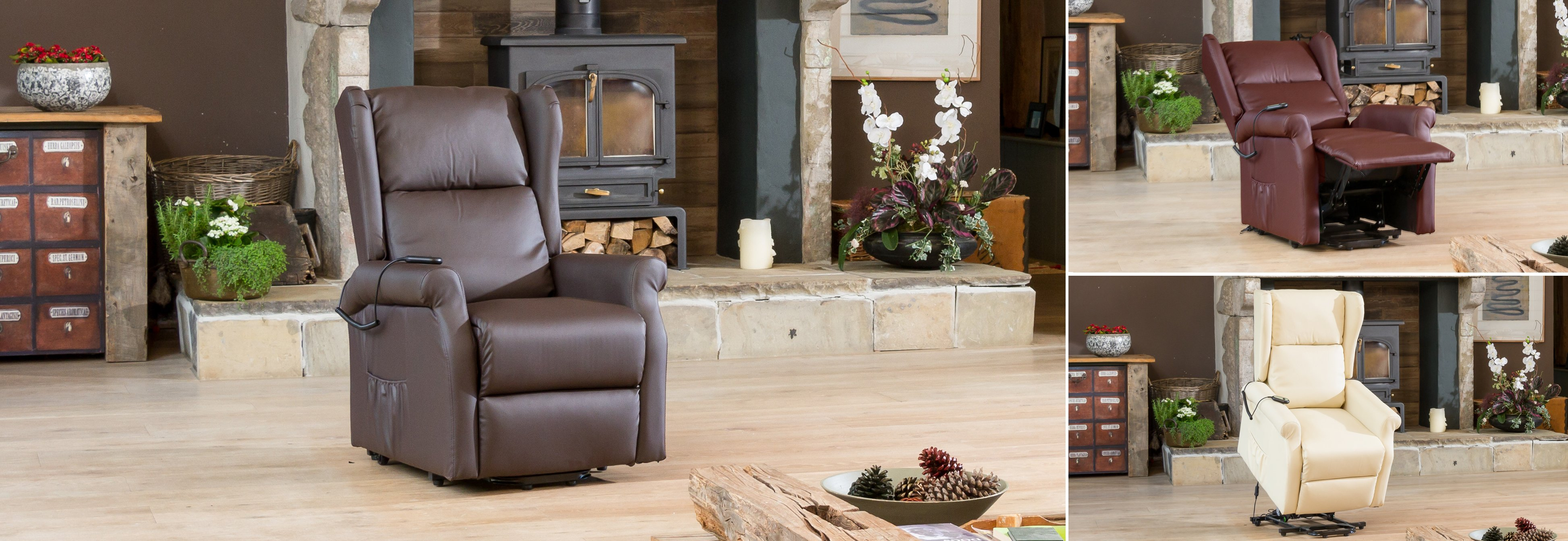 Verwood Riser Recliner Chair with Heat and Massage Brown
