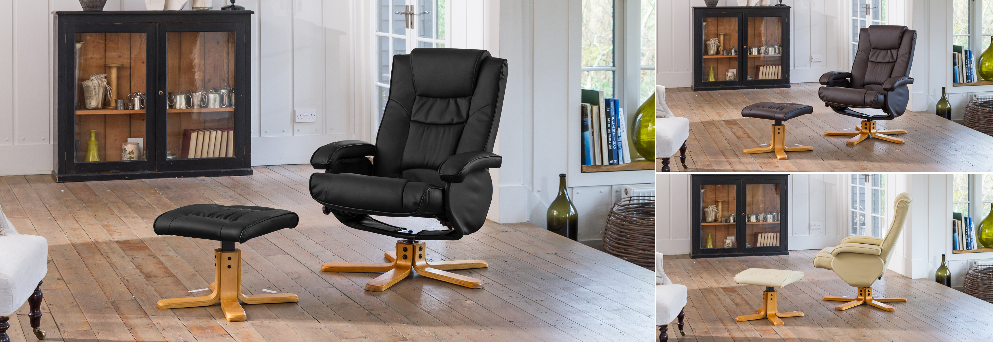 Amberley Massage with Heat Swivel Chair  black