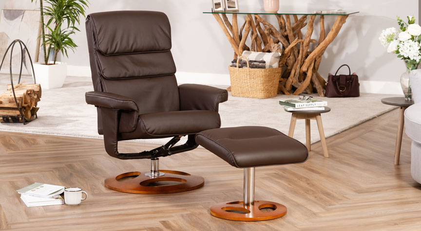 Banbury Massage with Heat Swivel Chair Brown