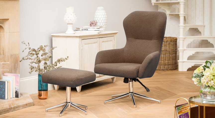 Beccles Swivel Chair Dark Brown