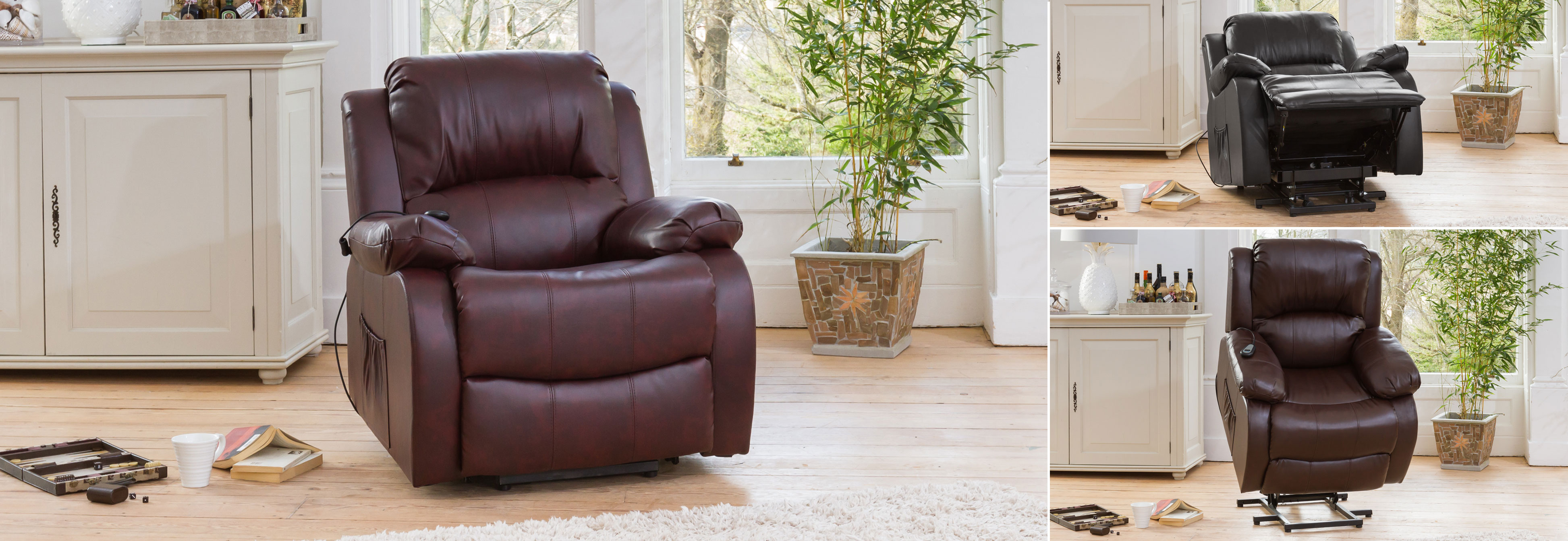 Broxbourne Riser Recliner With Massage And Heat Burgundy At The Sofa Company