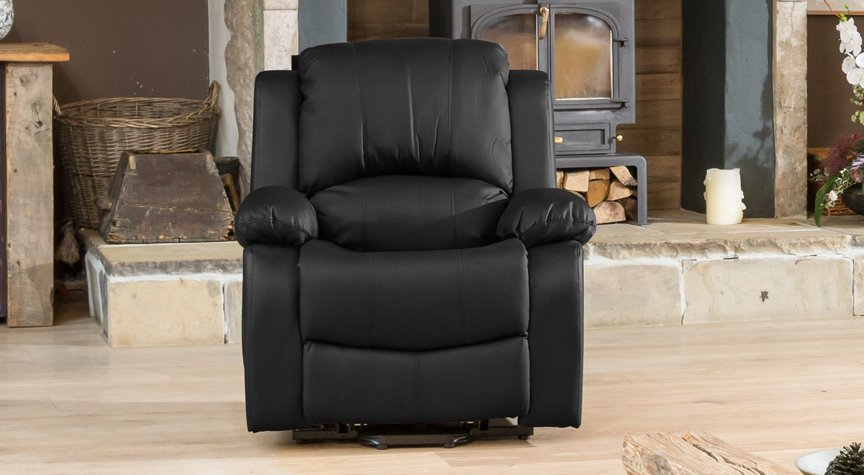 Burghley black electric riser recliner with massage and heat