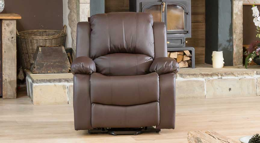 Burghley brown electric riser recliner with massage and heat