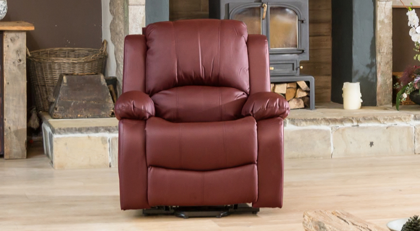 Burghley burgundy electric riser recliner with massage and heat