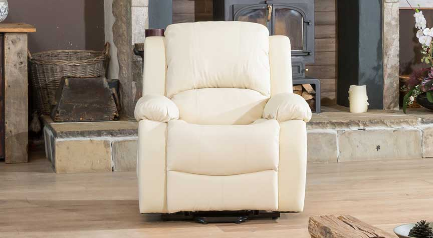 Burghley cream electric riser recliner with massage and heat