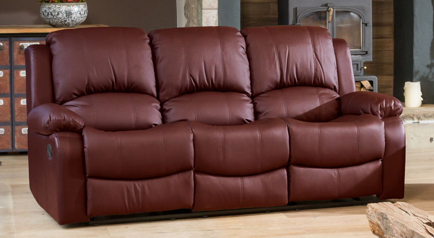 Burghley burgundy 3 seat recliner