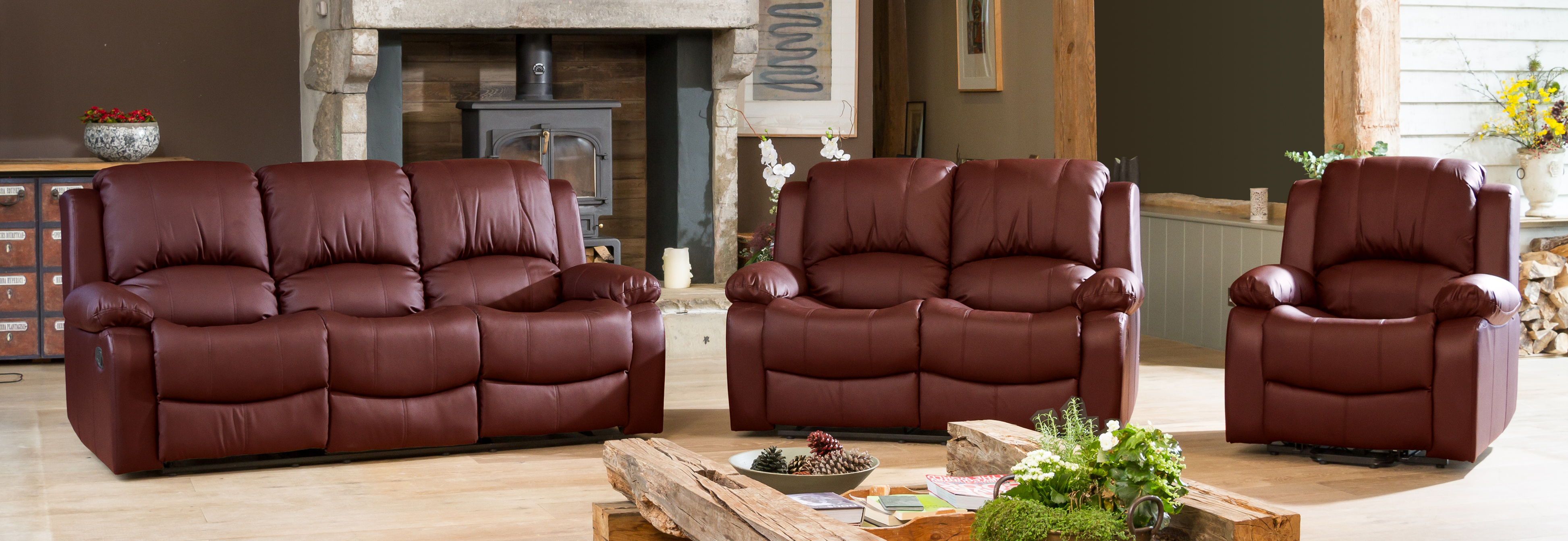 Burghley Reclining Suite burgundy