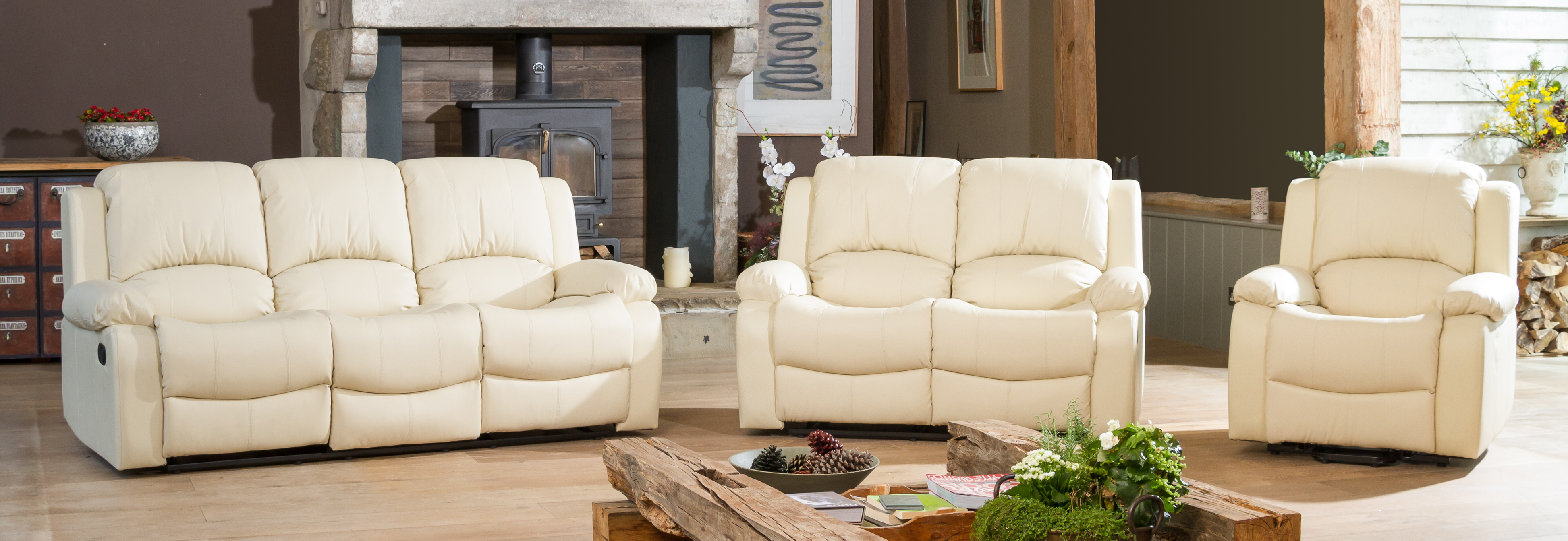 Burghley Reclining Suite cream