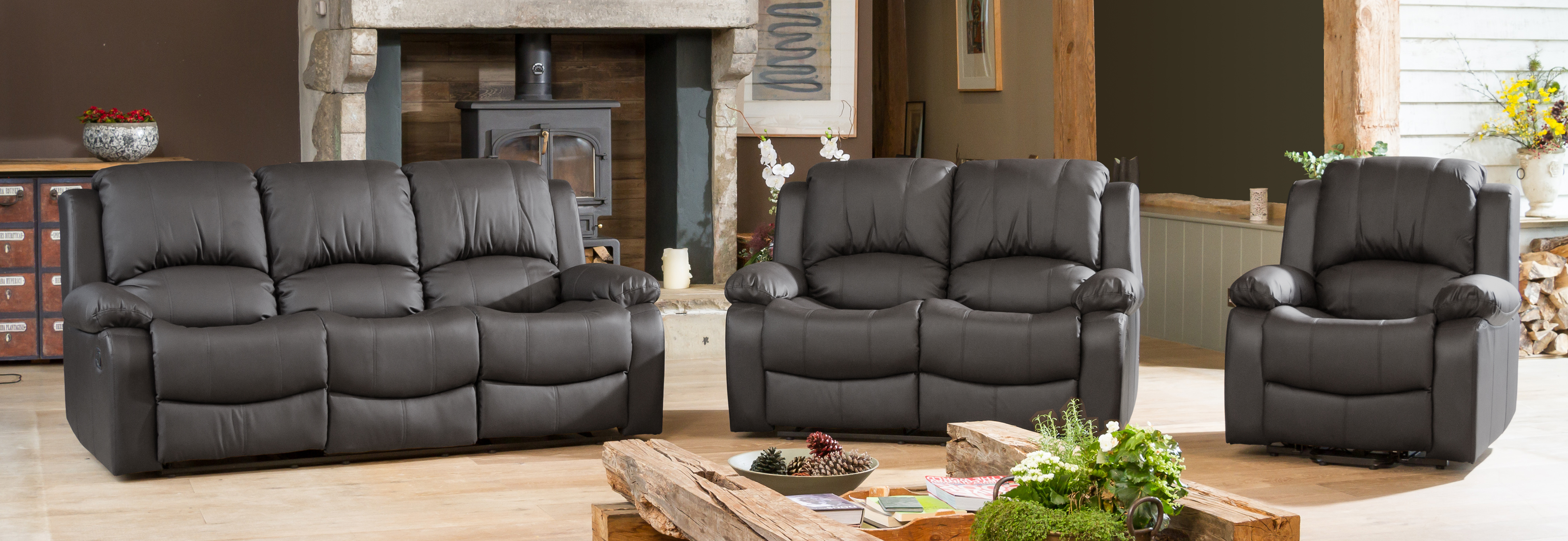 Burghley Reclining Suite grey