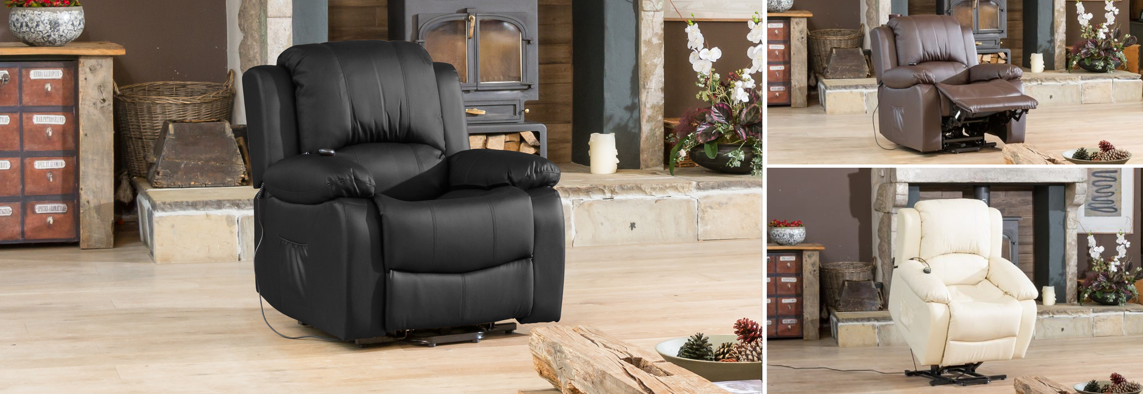 Burghley Riser Recliner with Massage and Heat black