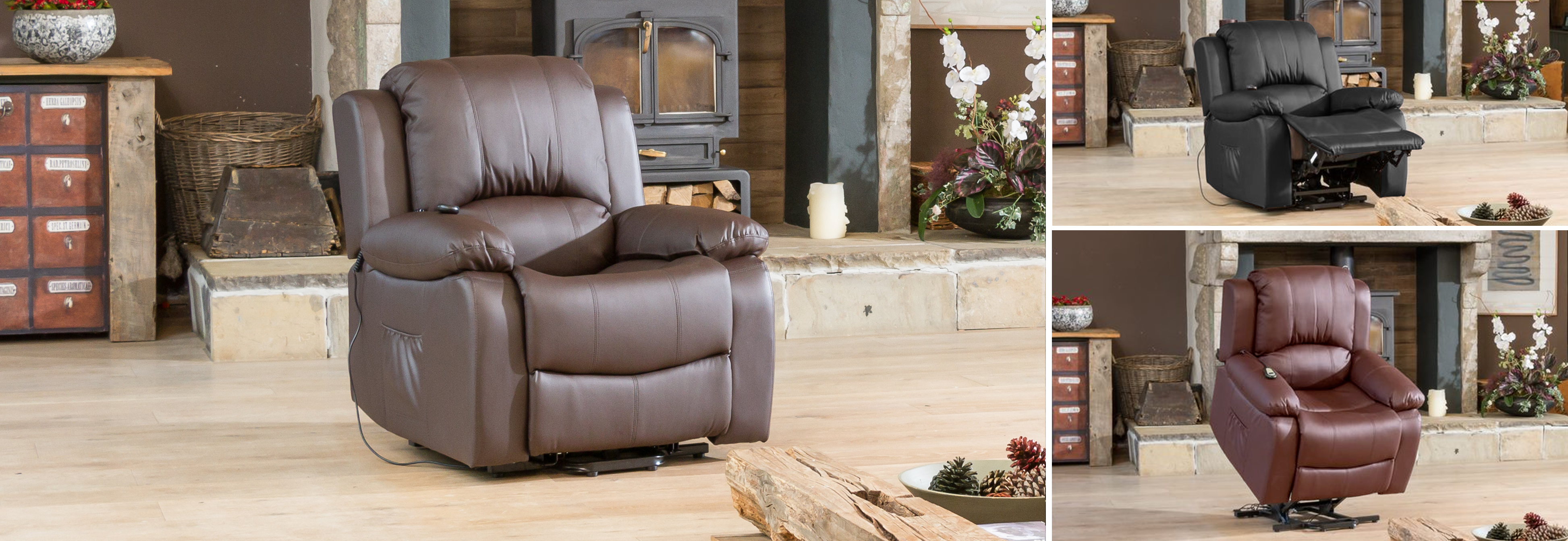 Burghley Riser Recliner with Massage and Heat brown