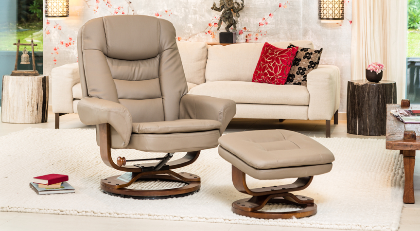 Caledonia Massage with Heat Swivel Chair Beige