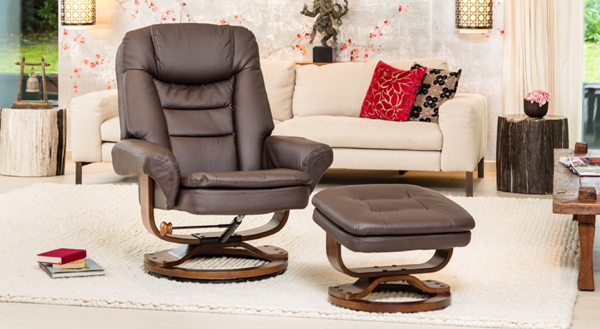 Caledonia Massage with Heat Swivel Chair Brown
