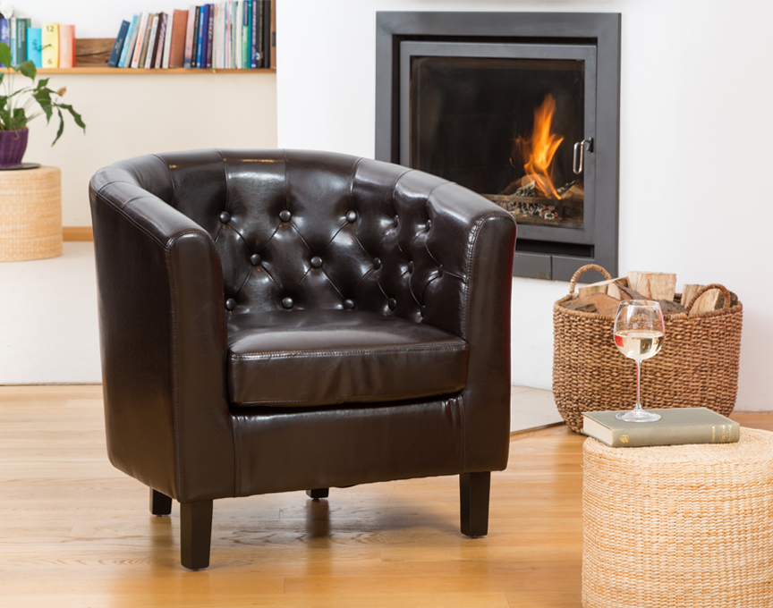Duncan tub chair brown