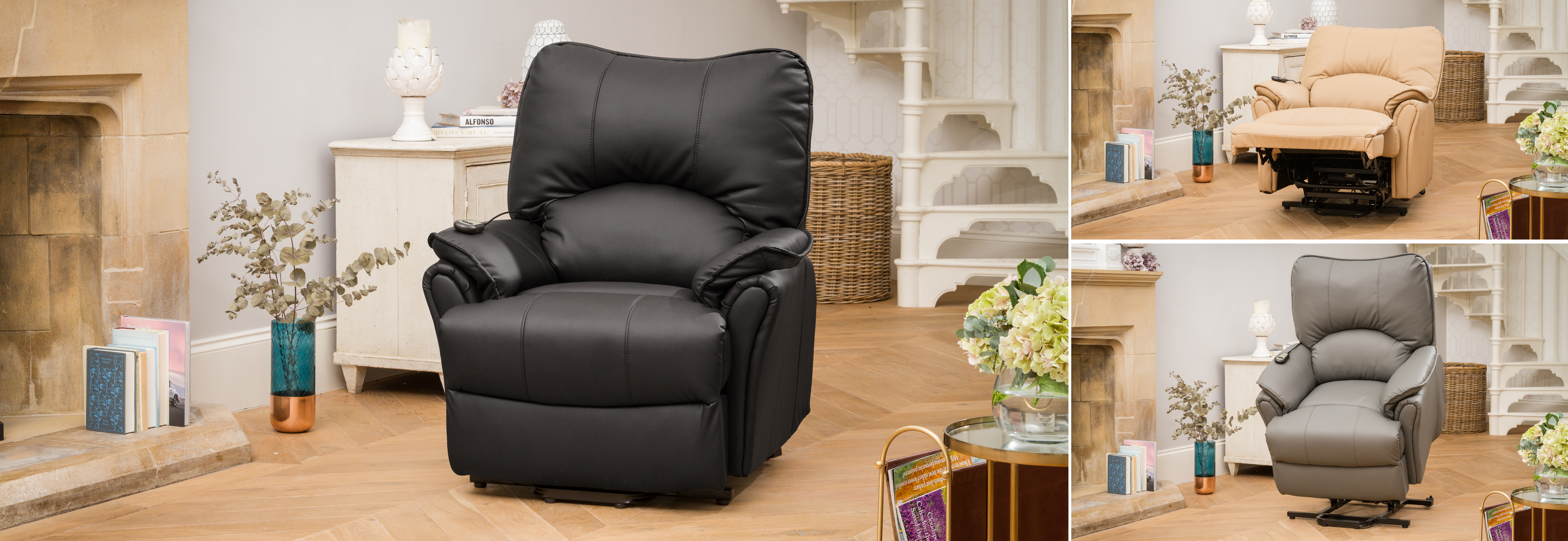 Eastleigh Riser Recliner Chair with Heat & Massage black