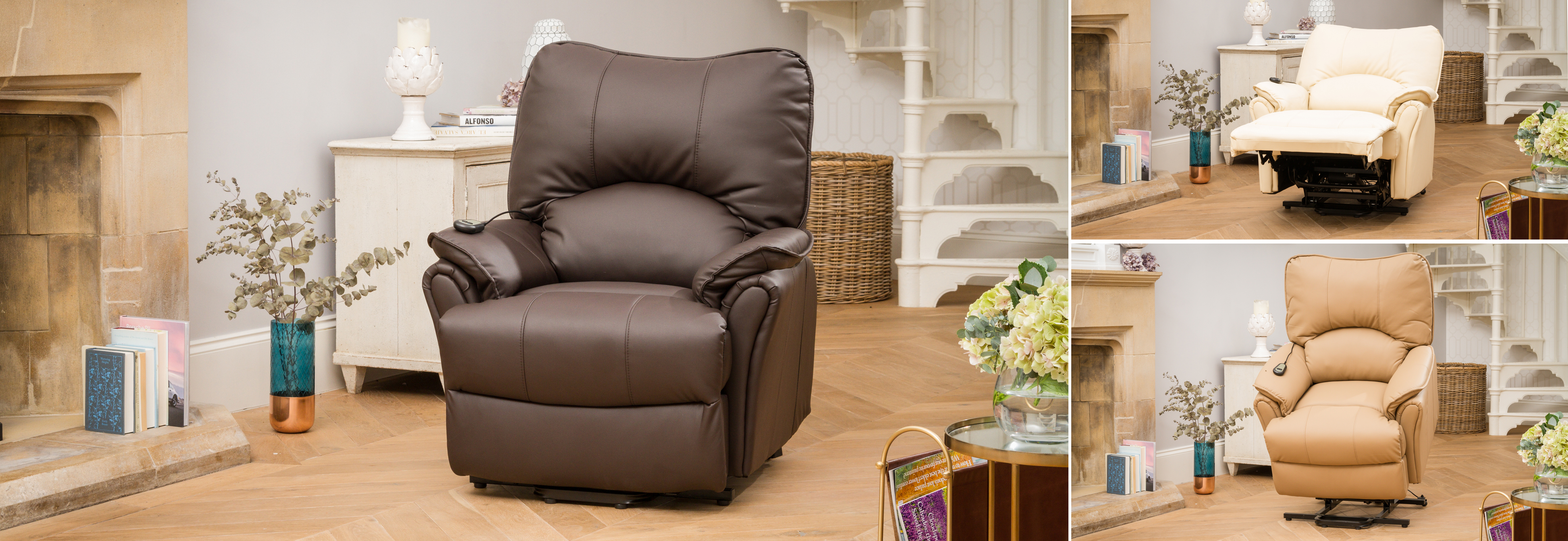 Eastleigh Riser Recliner with Heat and Massage brown
