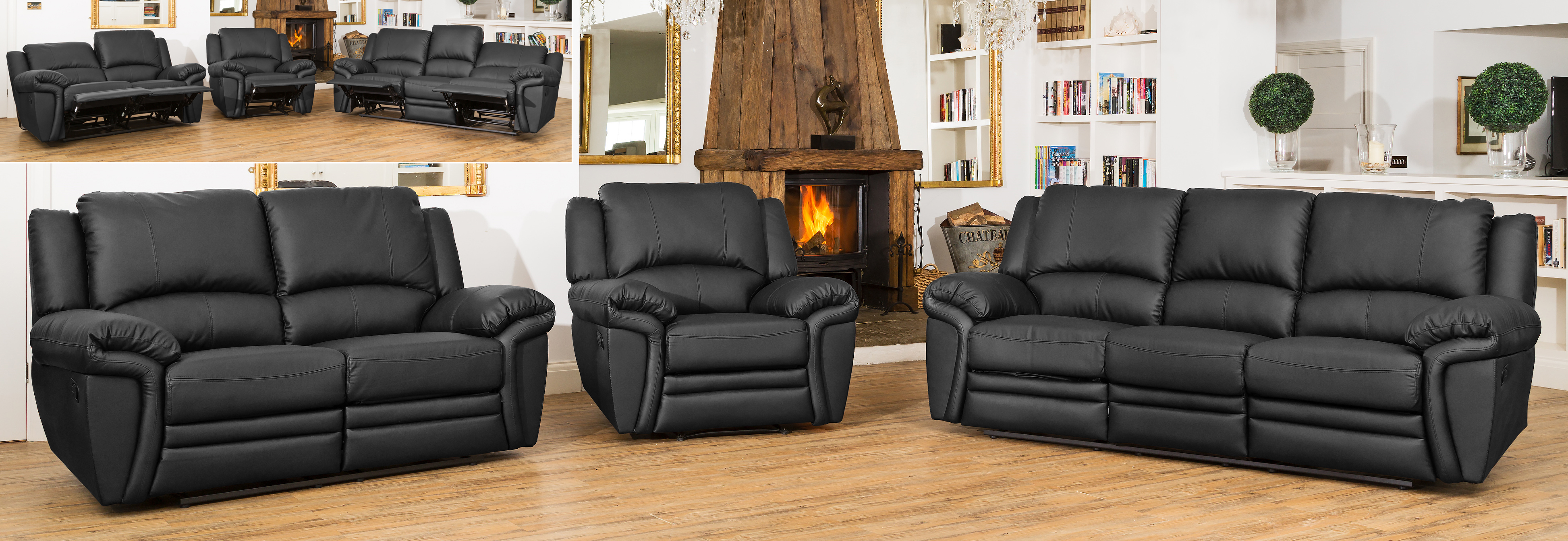 Fitzroy Reclining Suite black