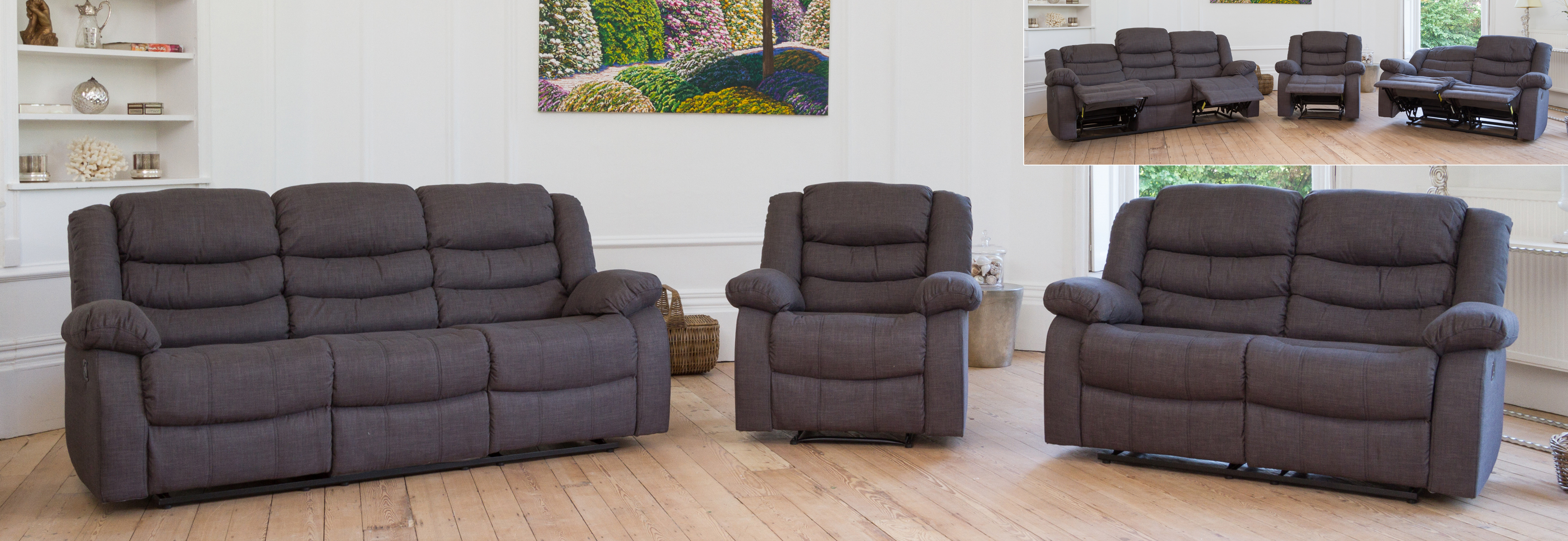 Gainsborough Reclining Suite dark grey