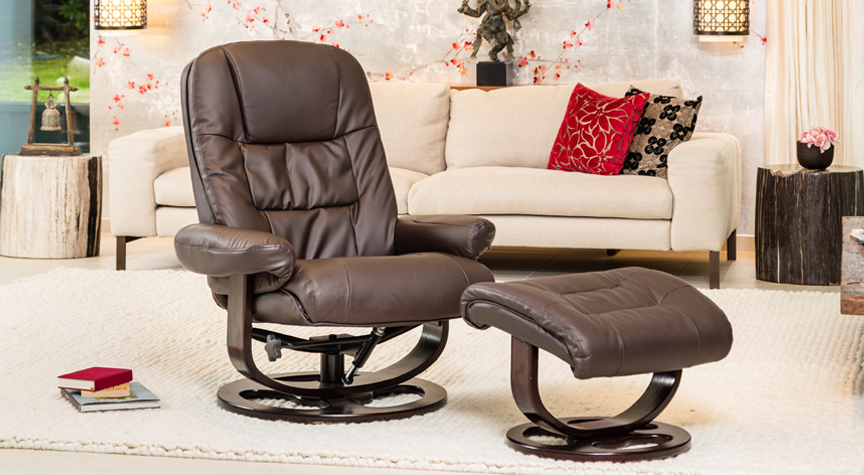 Islington Massage with Heat Swivel Chair Brown