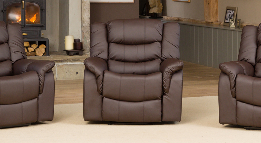 Kilcreene heat and massage reclining armchair brown