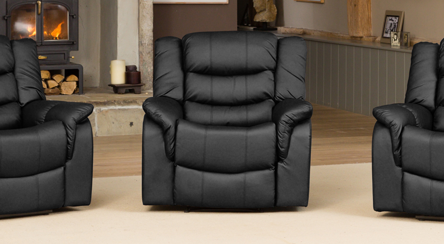 Kilcreene electric riser reclining armchair with massage and heat black