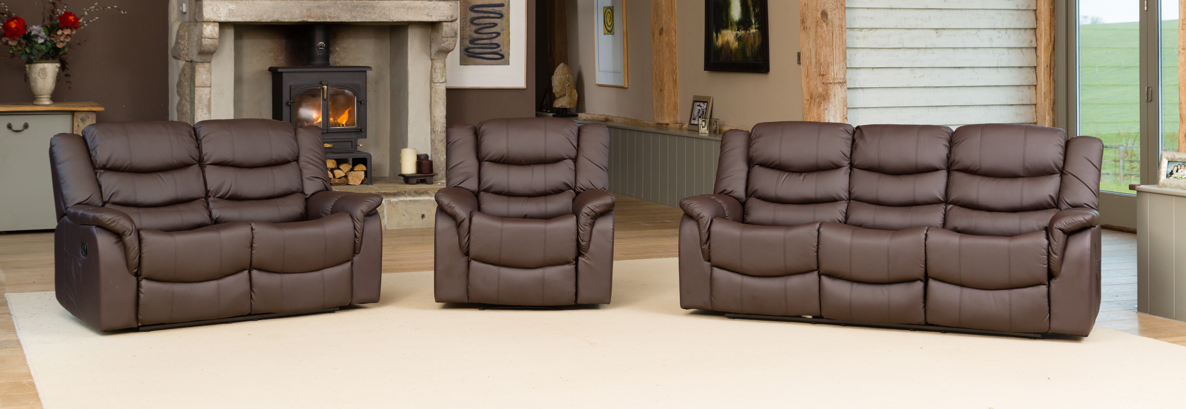 Kilcreene Reclining Suite brown