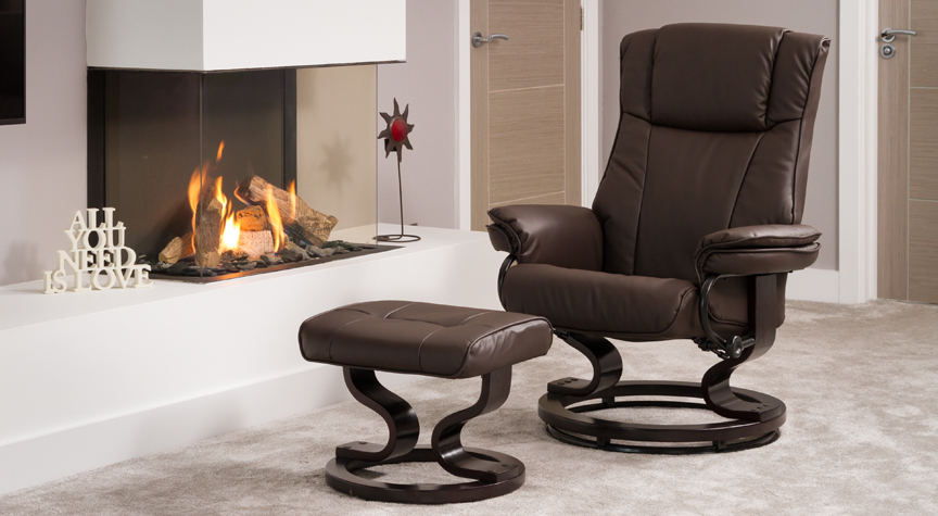 Leighton Massage With Heat Swivel Chair Brown