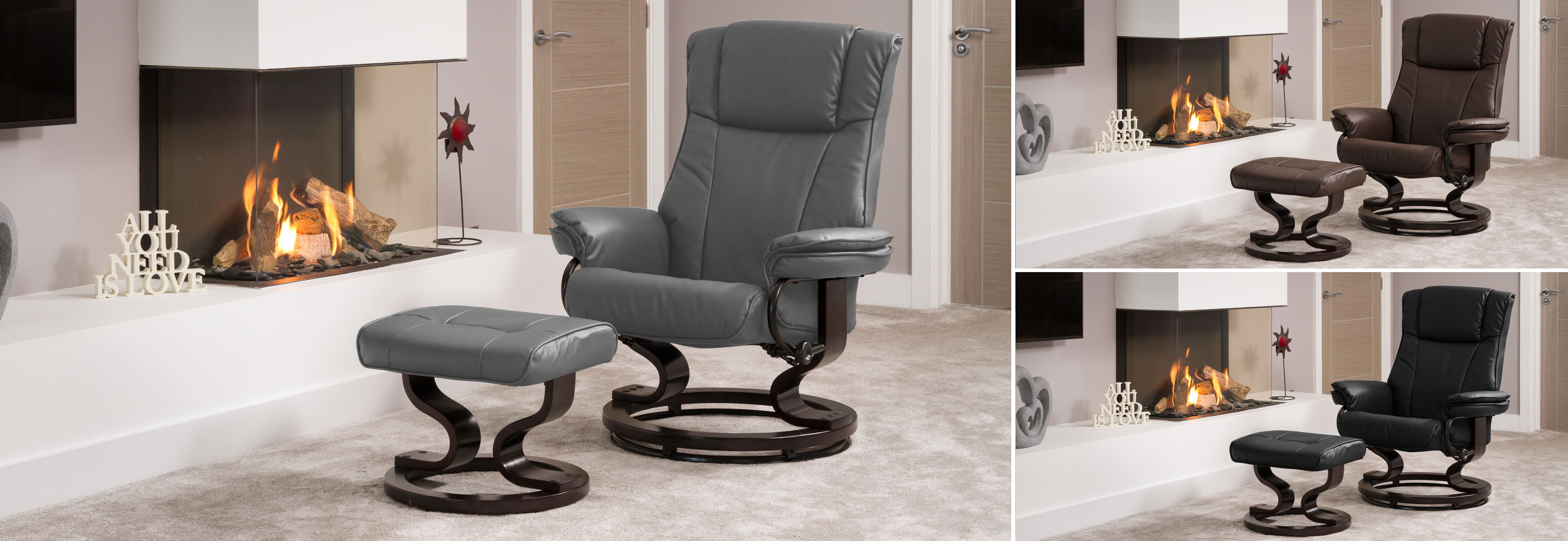 Leighton Massage and Heat Swivel Chair grey
