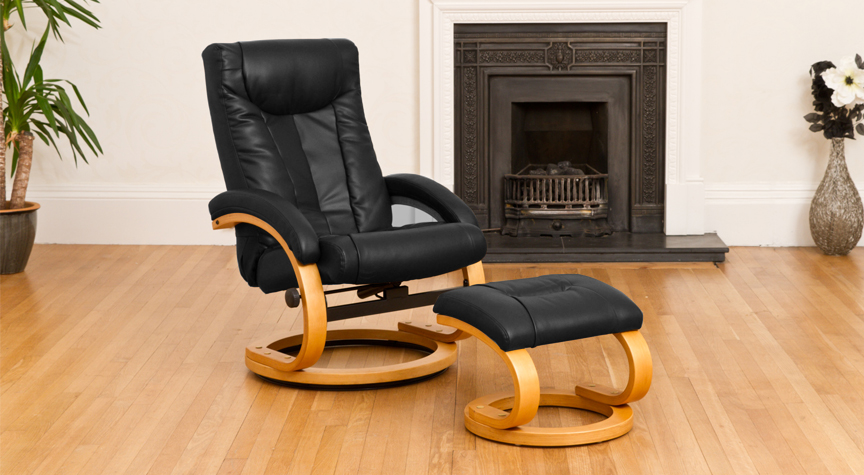 Montague Massage with Heat Swivel Recliner Black
