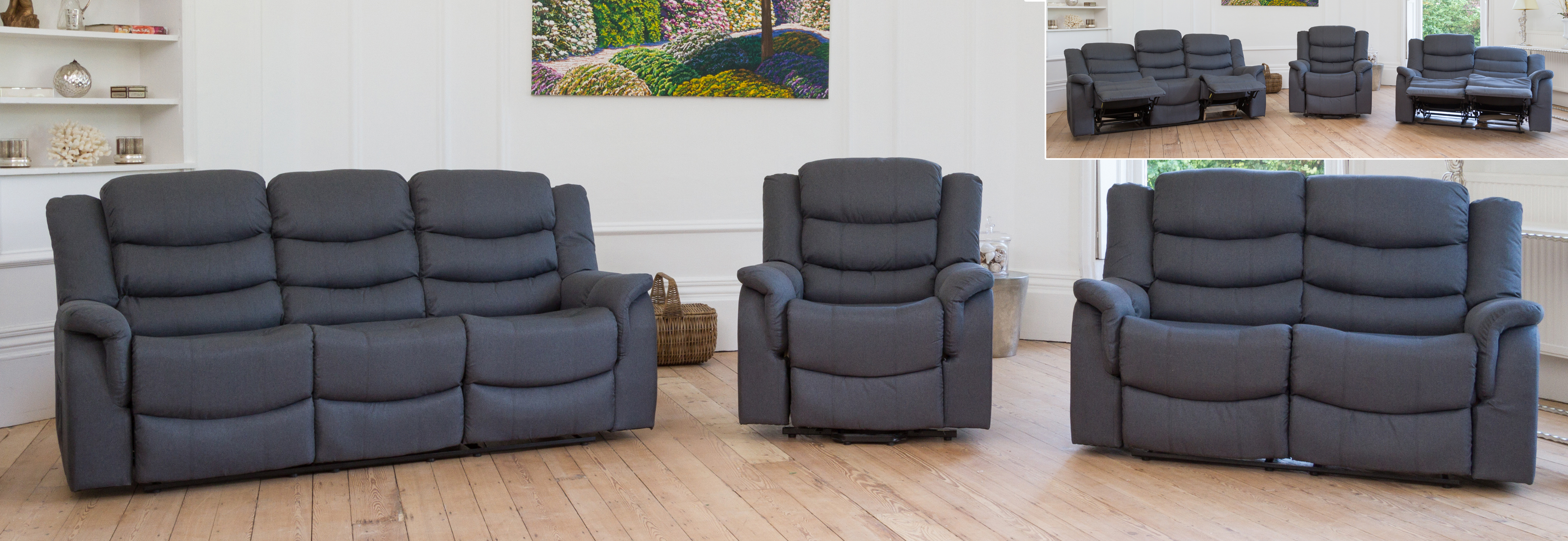 Portman Reclining Suite dark grey