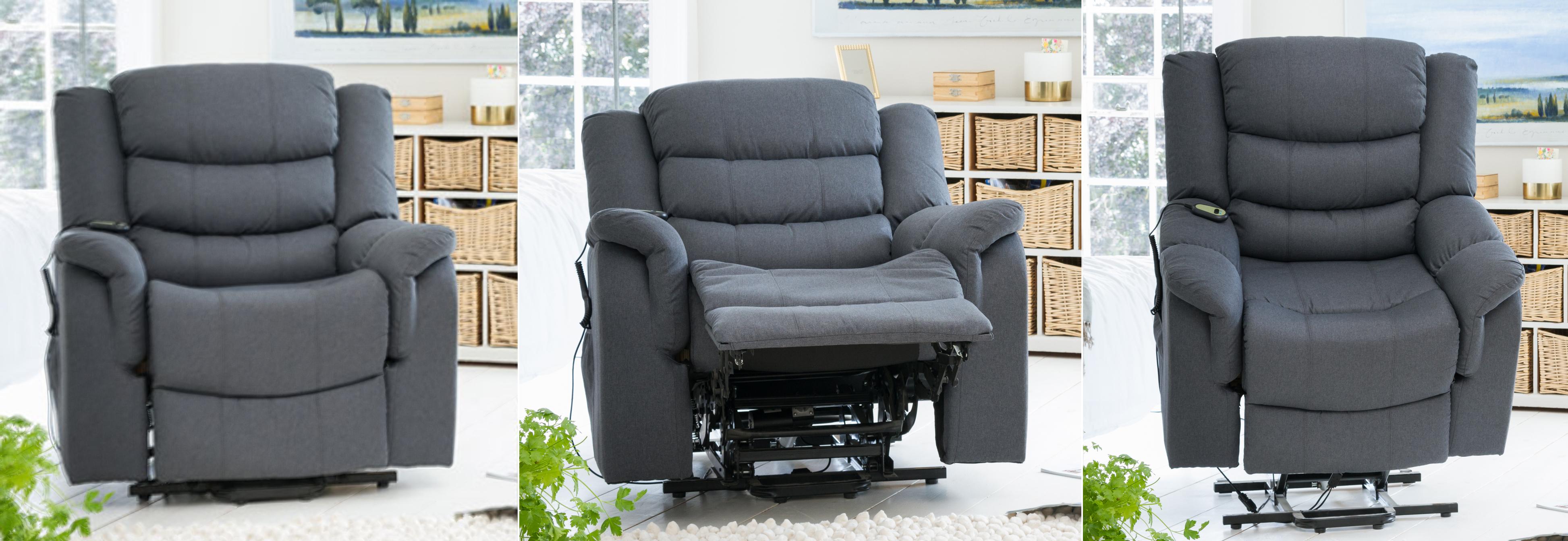 Portman Riser Recliner with Massage and Heat dark grey