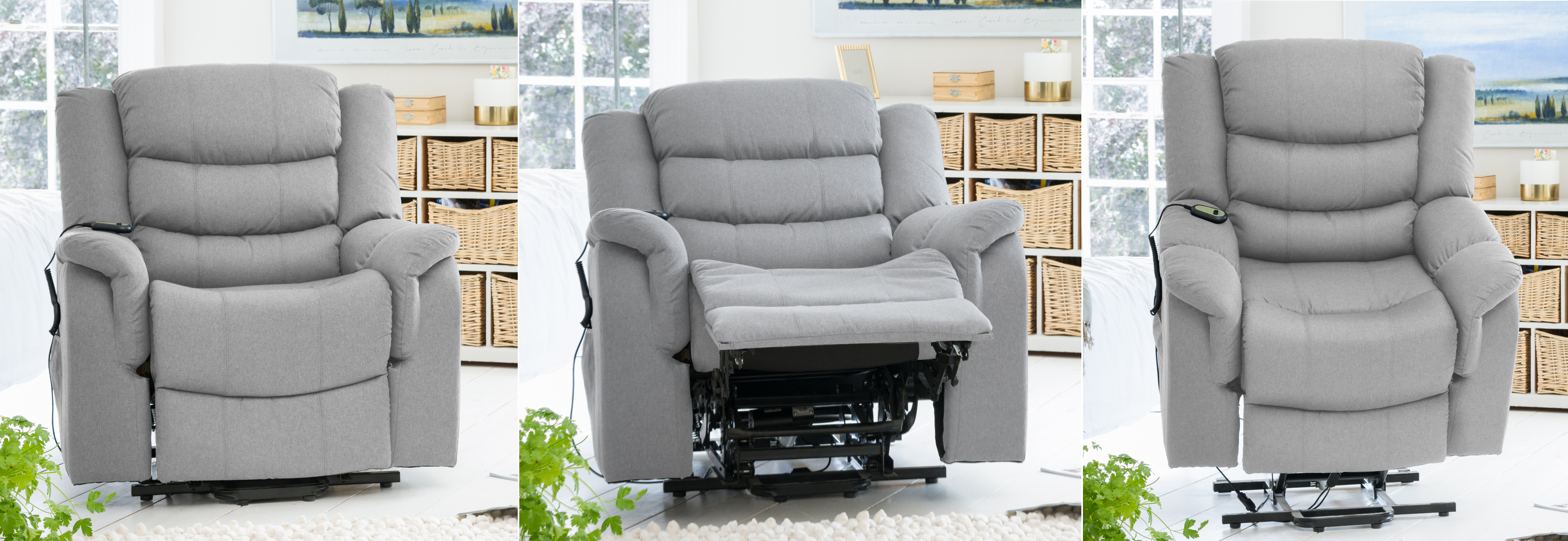 Portman Riser Recliner with Massage and Heat light grey