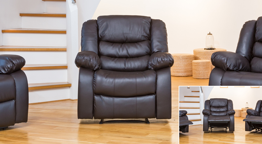Seville reclining armchair brown