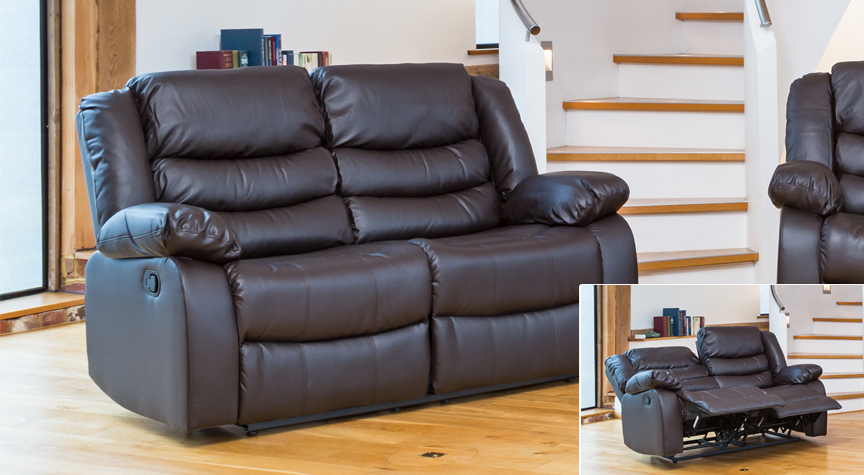 Seville 2 seat reclining sofa brown