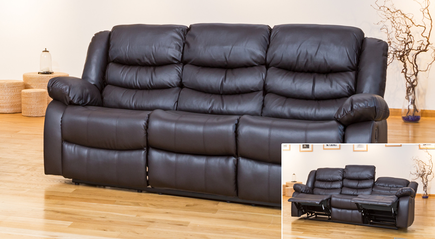 Seville 3 seat reclining sofa brown