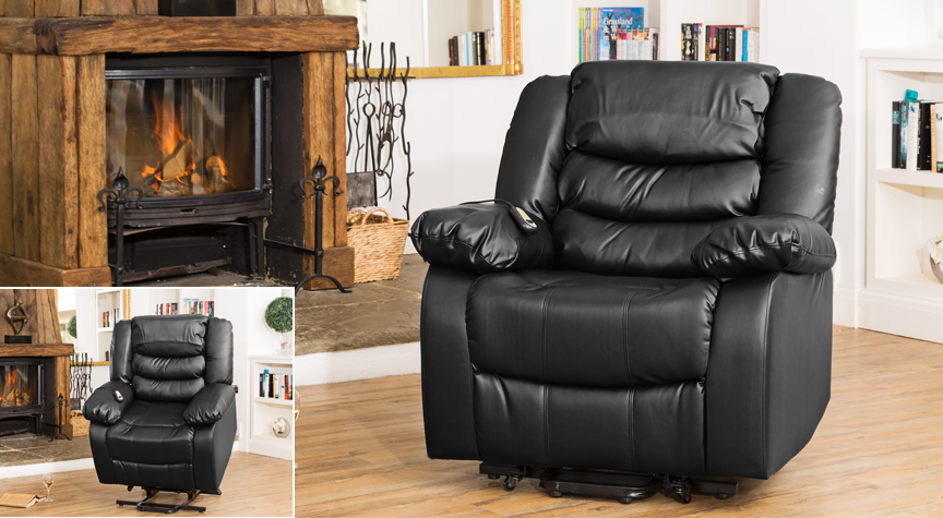 Seville electric riser recliner with massage and heat black