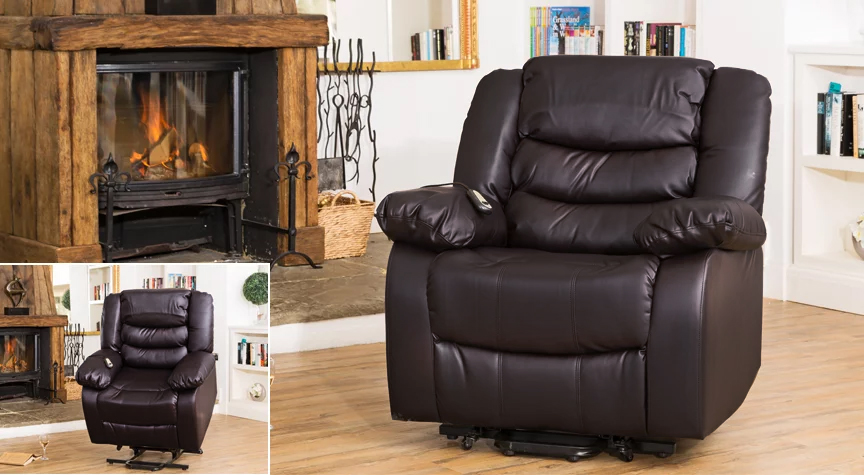 Seville electric riser reclining armchair brown