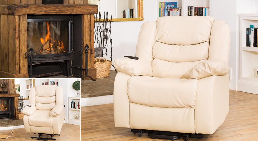 Seville electric riser recliner with massage and heat cream