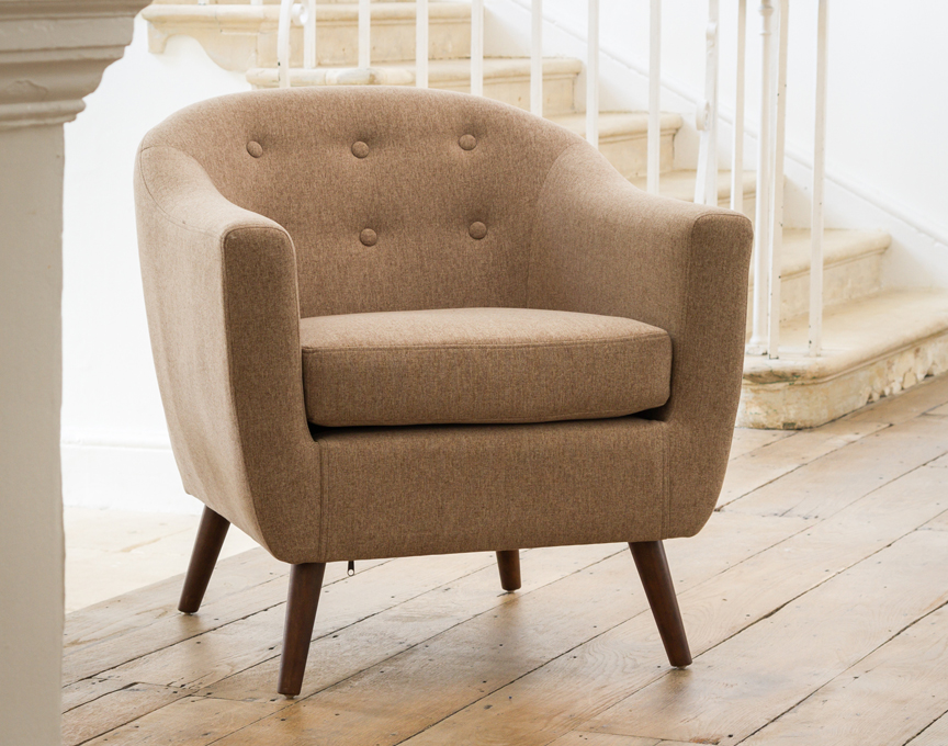 Shepton tub chair mixed brown