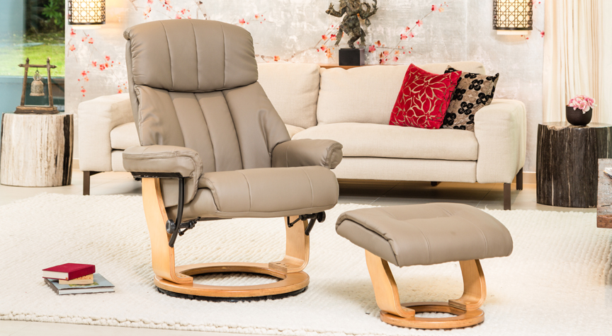 Thornton Massage with Heat Swivel Chair Beige