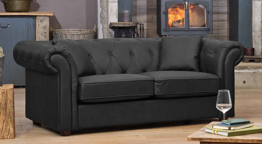 Wellesley 2 seat sofa black